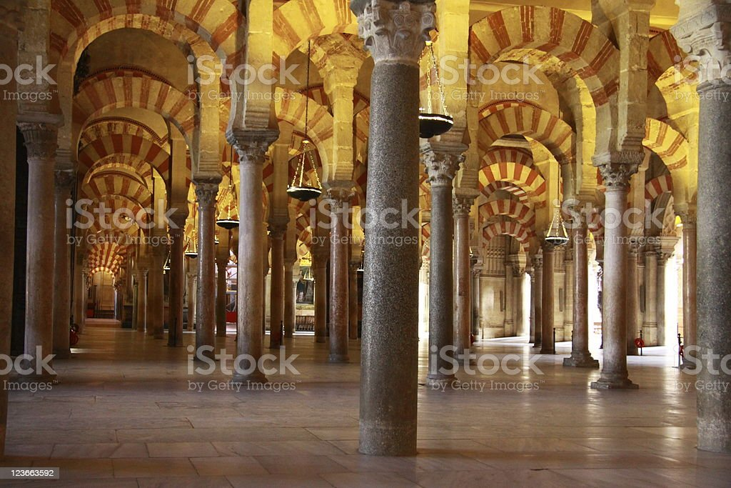 Mezquita cathedral mosque interior Cordoba Spain royalty-free stock photo