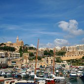 Mgarr townscape with the port and the Church of \
