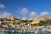 Mgarr, Gozo, Malta - October 15, 2019: Mgarr town and harbour on Gozo island