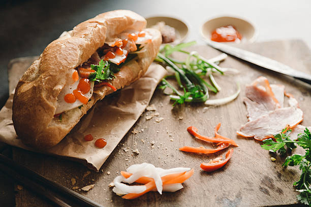 Banh Mi Viet Nam Vietnamese Cuisine, Vegetable, Meal, Cilantro, Banh, Homemade bánh mì sandwich stock pictures, royalty-free photos & images