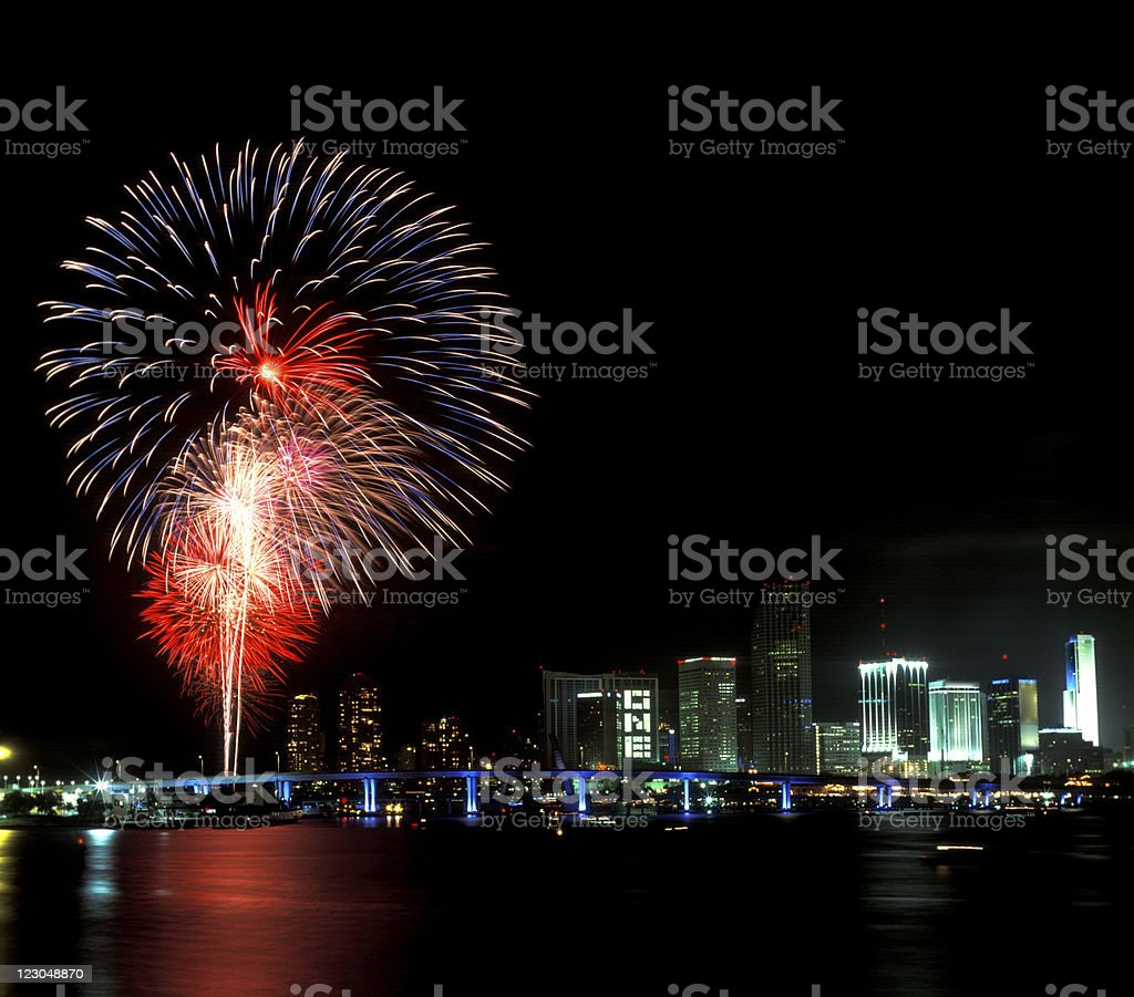 Miami 4th of july royalty-free stock photo