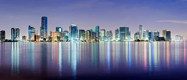 Miami and Brickell City Skyline at Night USA stock photo