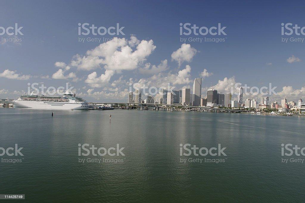 Miami and cruiser royalty-free stock photo