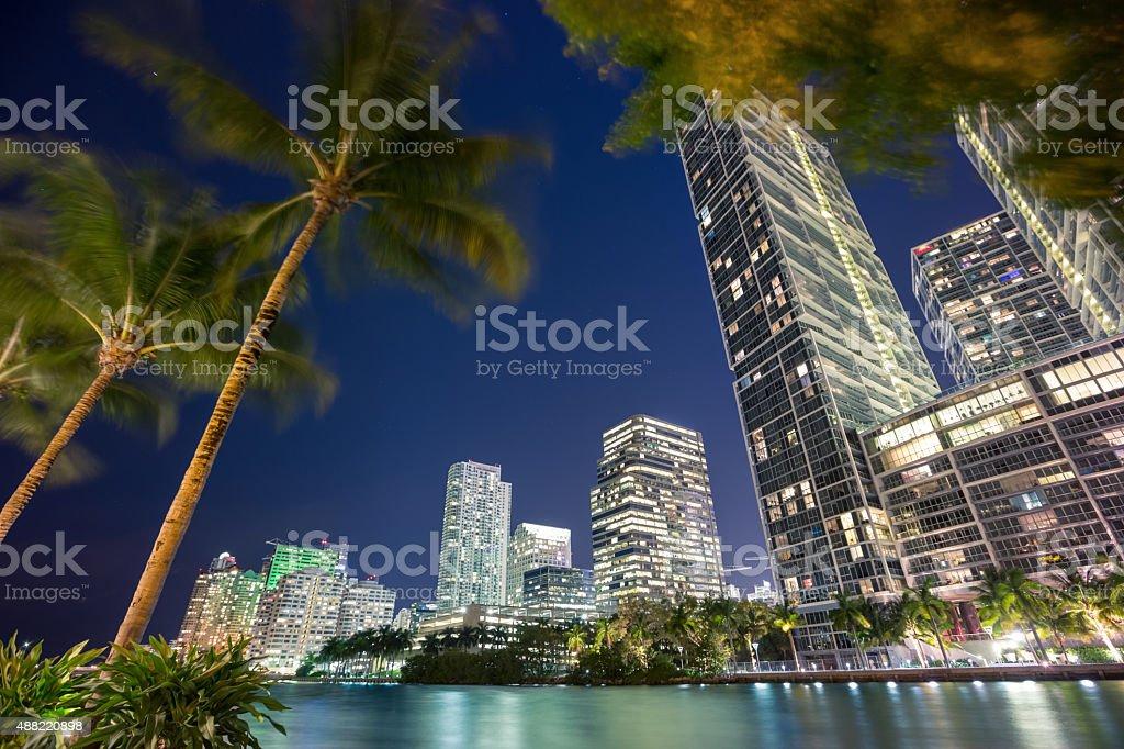 Miami at night stock photo