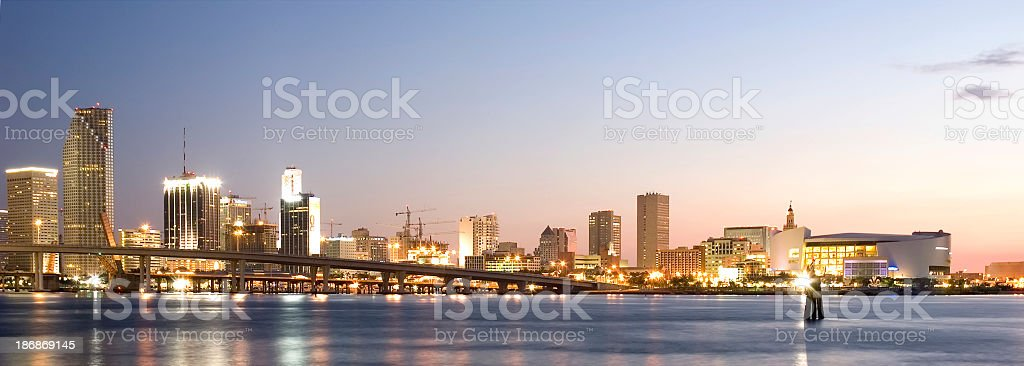 miami bay and downtown skyline royalty-free stock photo