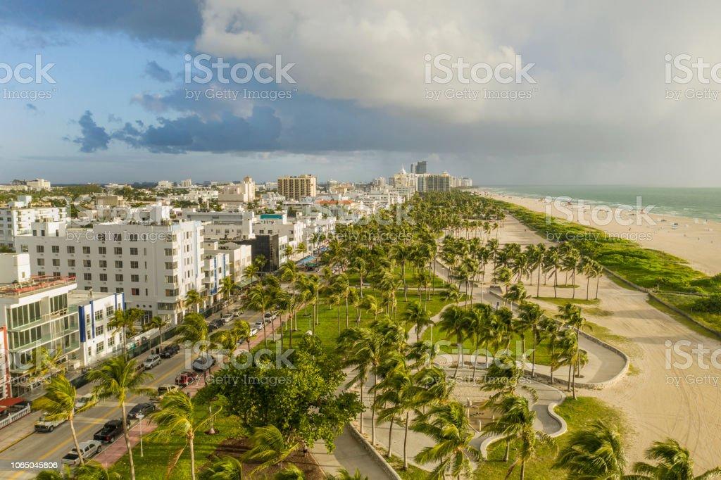 Miami Beach. Aerial view of South Beach. Usa, Florida, Miami Beach. Aerial view of the art deco buildings on Ocean Drive, the Lummus Park and the beach of South Beach. Aerial View Stock Photo