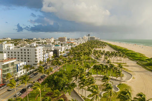 Miami Beach Aerial View Of South Beach Stock Photo - Download Image Now