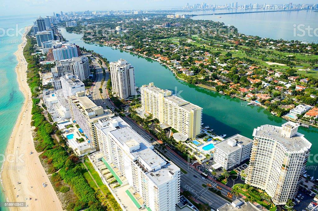 Miami Beach aerial view stock photo