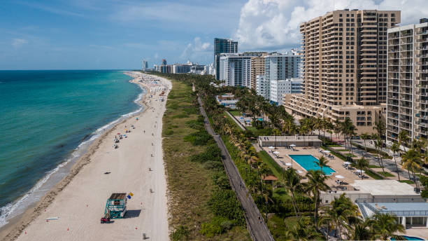 Miami Beach Boardwalk Aerial View stock photo