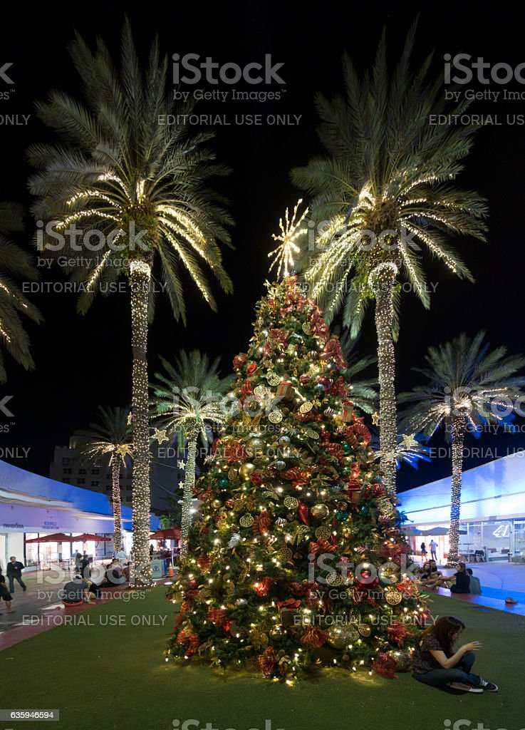 miami beach christmas tree decorations palm trees lincoln road mall royalty free stock photo - Palm Tree Decorated For Christmas