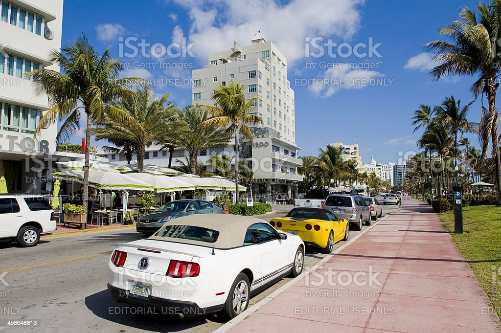 Miami Beach City Skyline in Florida USA stock photo
