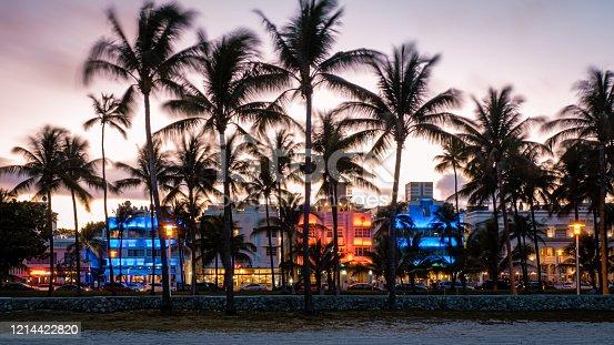 Miami Beach, colorful Art Deco District at night Miami Florida US