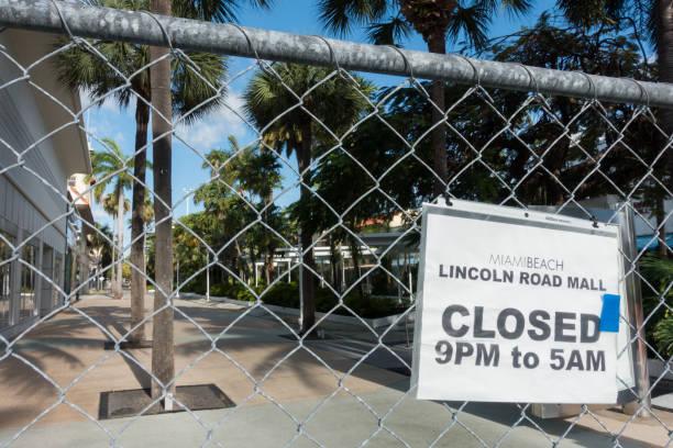 Miami Beach COVID-19 Closure stock photo