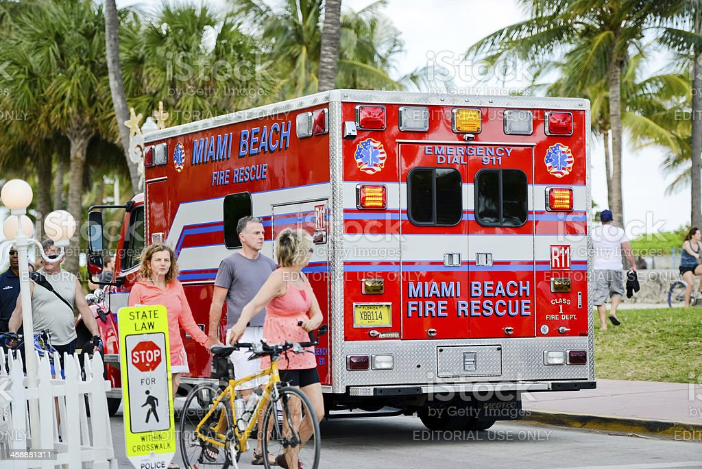 Miami Beach Fire Rescue Truck arriving at Ocean Drive on a New Year...