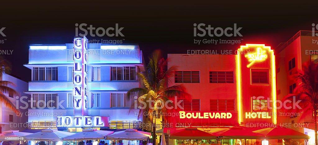Miami Beach, Florida  hotels and restaurants at night stock photo