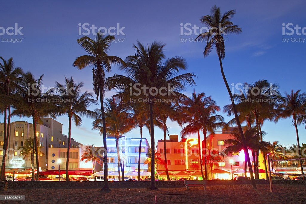Miami Beach, Florida  hotels and restaurants at sunset royalty-free stock photo