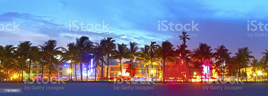 Miami Beach, Florida  hotels and restaurants at sunset bildbanksfoto