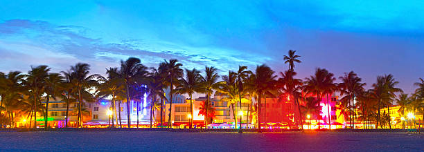 Miami Beach, Florida  hotels and restaurants at sunset stock photo