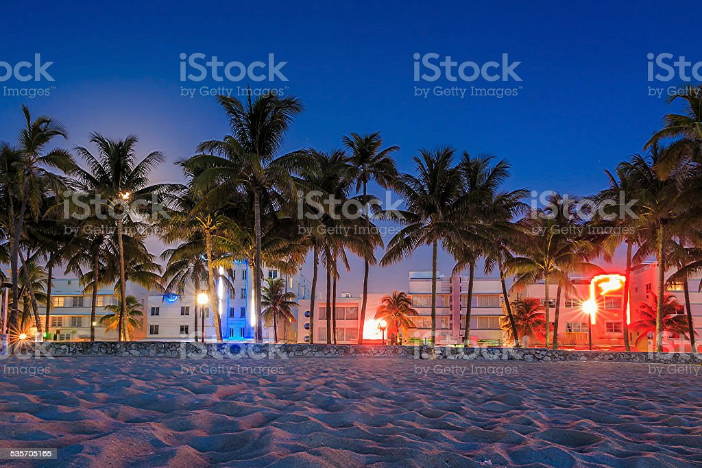 Miami Beach, Florida hotels and restaurants at twilight on Ocean stock photo