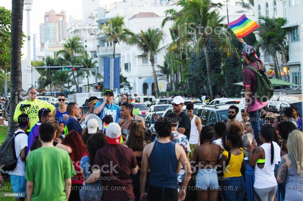 Miami Beach Gay Pride Festival 2018 Protestors and Counter-Protestors stock photo