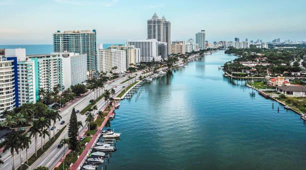 Miami Beach Intracoastal Aerial South View stock photo