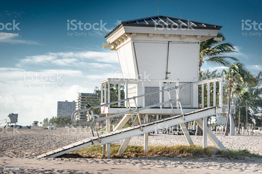 miami beach Lifeguard hut on sand beach stock photo