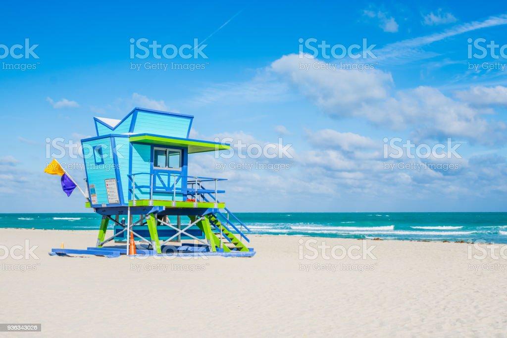 Miami Beach Lifeguard Stand in the Florida sunshine stock photo