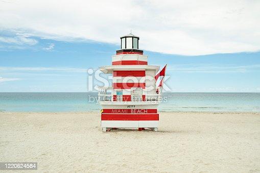 istock Miami Beach lifeguard station on the shore of the Atlantic Ocean 1220624584