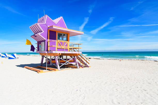 Miami Beach lifeguard station Miami Beach lifeguard station miami beach stock pictures, royalty-free photos & images