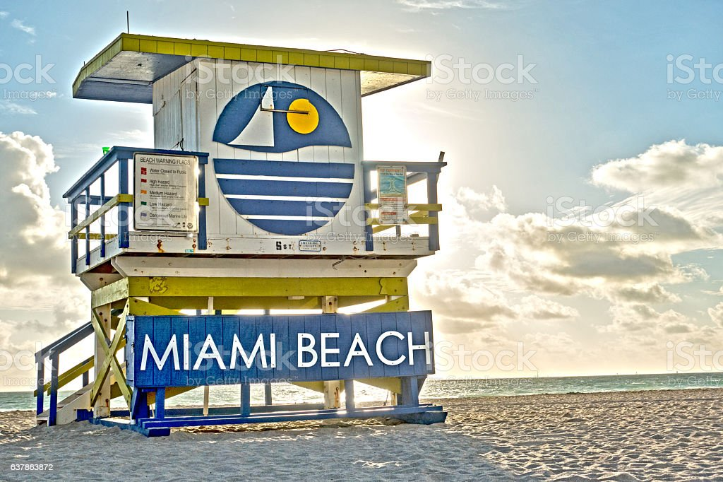 Miami Beach Lifeguard Tower Sunrise Stock Photo - Download Image Now