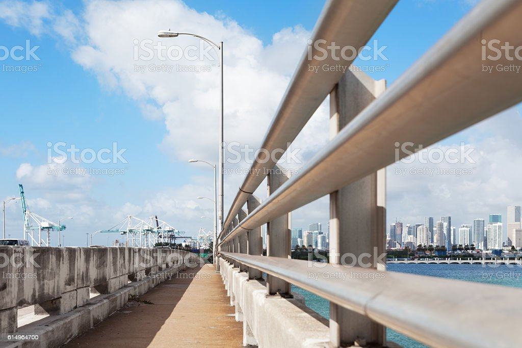 Miami Beach MacArthur Causeway Walkway stock photo