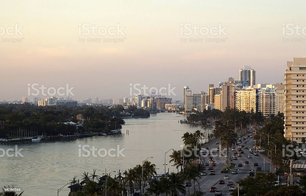 Miami Beach morning traffic royalty-free stock photo