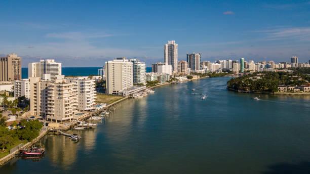 Miami Beach North Beach Aerial South View stock photo