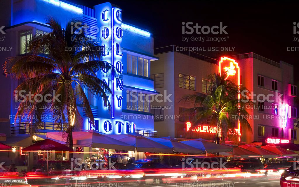 Miami Beach Ocean Drive At Night Royalty Free Stock Photo