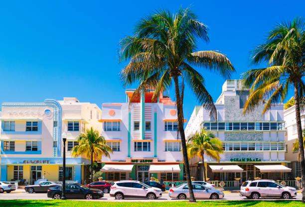 Miami Beach, Ocean Drive Historic district stock photo