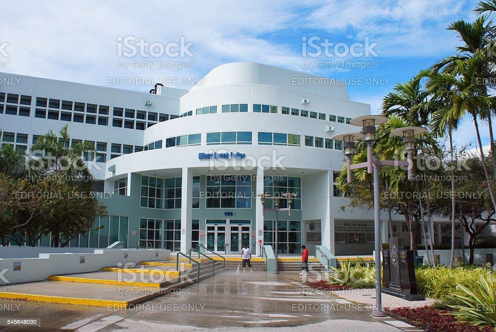 Miami Beach Police building stock photo