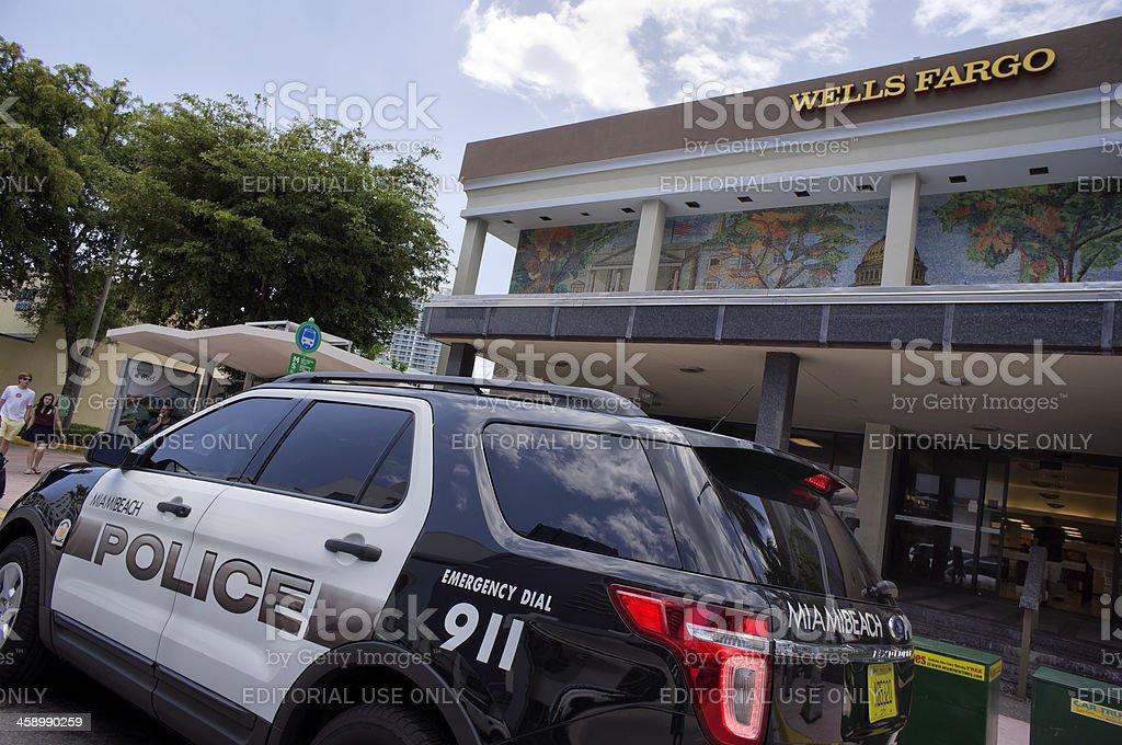 Miami Beach Police car by Wells Fargo Bank stock photo