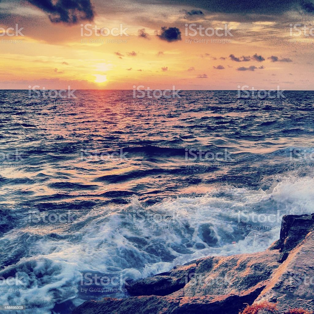 Miami Beach Sunrise Over Atlantic Ocean Horizon stock photo