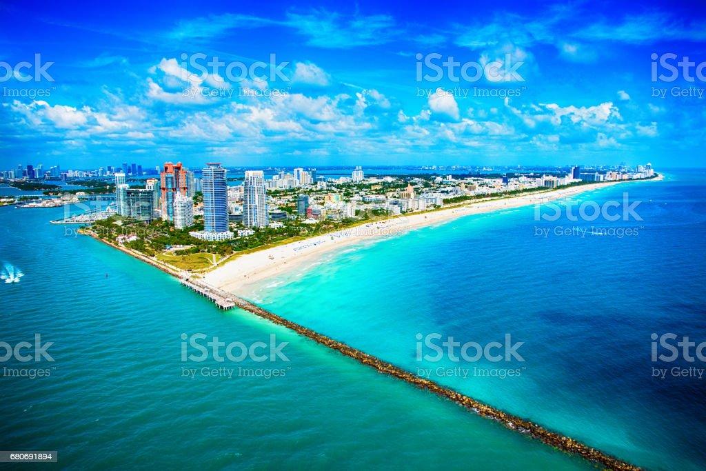 Miami Beach Wide Angle Aerial View stock photo