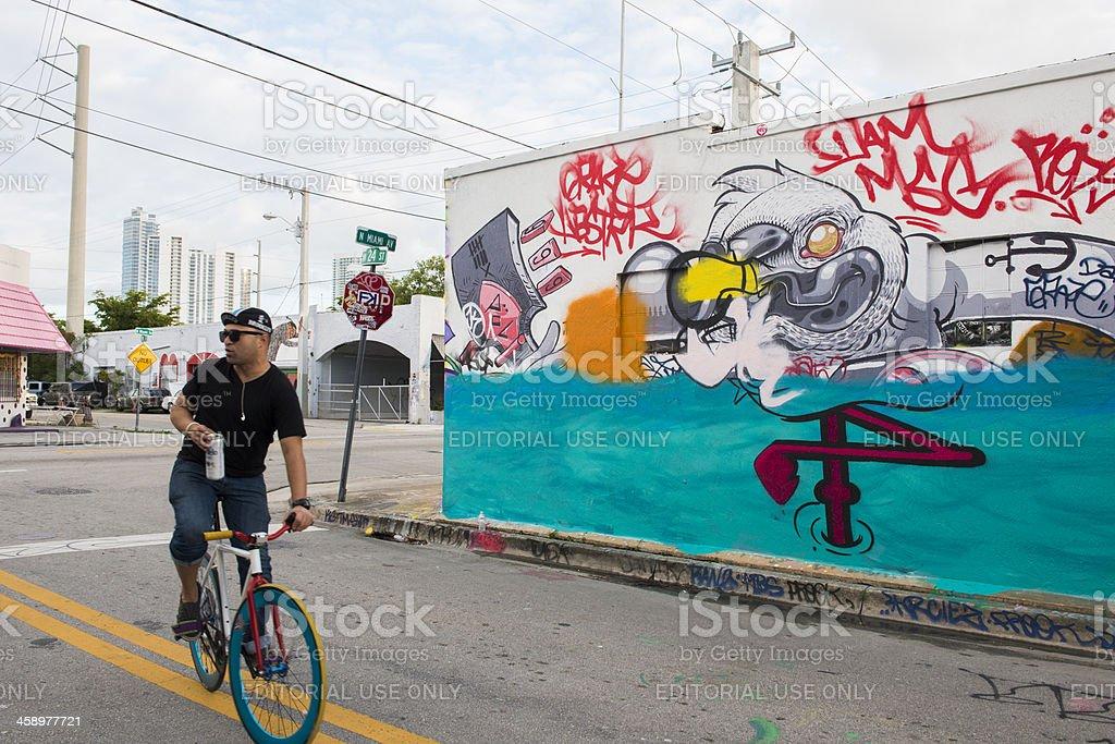 Miami Biking Wynwood Street Graffit Art Mural Travel Destination royalty-free stock photo