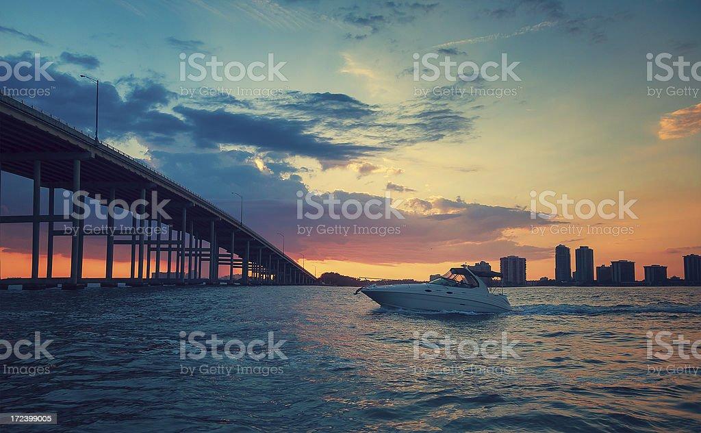 miami boat stock photo