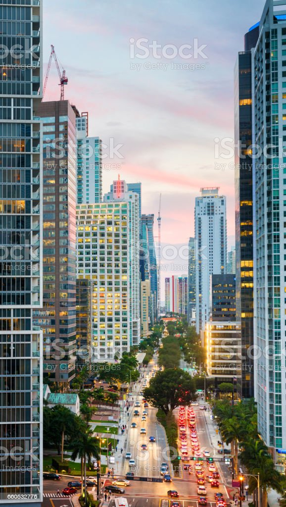 Miami Brickell avenue at dusk winter aerial view stock photo