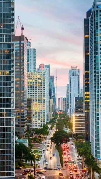 Miami Brickell avenue at dusk winter aerial view stock photo