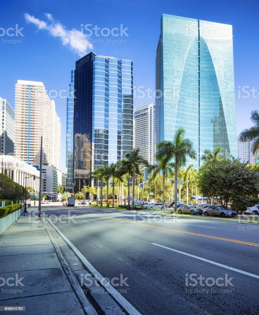 Miami Brickell financial district city scene on a sunny day stock photo