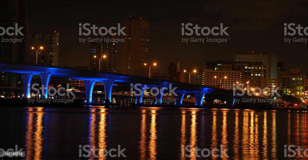 Miami Bridge at Night stock photo