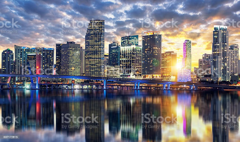 Miami buildings at sunset stock photo