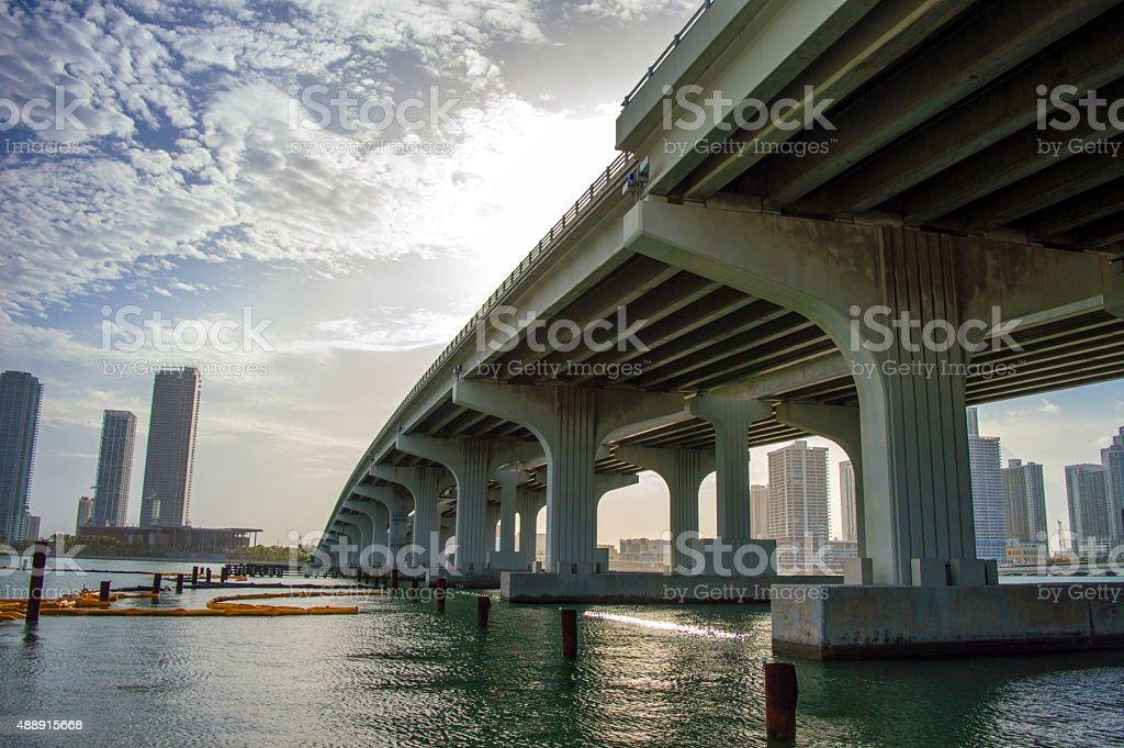 Miami causeway with blazing sun stock photo