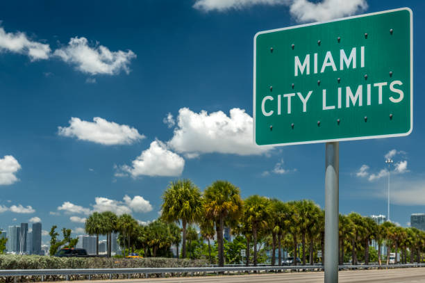 miami city limits - place sign stock pictures, royalty-free photos & images