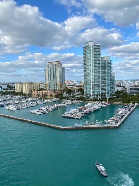 Miami condos and marina stock photo