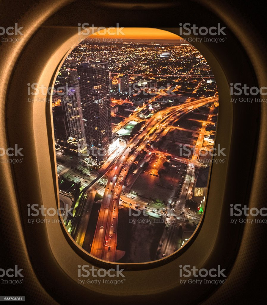 Miami downtown aerial view in the night from the porthole - foto de stock